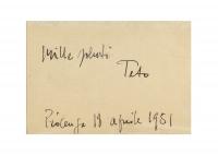 Osvaldo Bot - Retro dell'acquerello con dedica di Tato - 1951