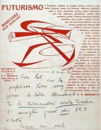 Osvaldo Bot - Lettera di Marinetti - 1929